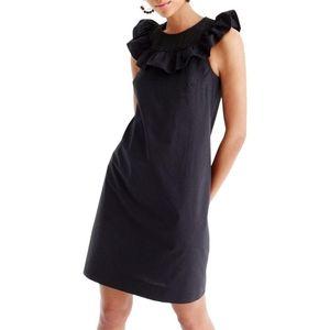 nwt J. Crew Black Ruffle Neck Sleeveless Dress 000